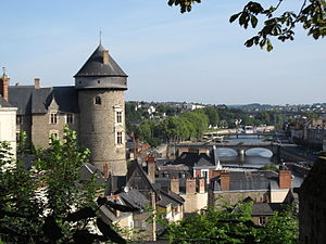 Laval, Mayenne - The castle overlooking the town and the river Mayenne.