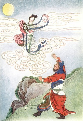 Mid-Autumn Festival - Houyi helplessly looking at his wife Chang'e flying off to the moon after she drank the elixir.