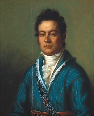 Fingerweaving - In this 1825 portrait by Charles Bird King, David Vann (later Treasurer of the Cherokee Nation) wears a fingerwoven sash and shoulder strap