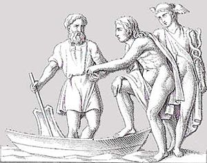 Danake - Charon receives a coin for the passage of a soul guided by Hermes (Mercury) as psychopomp.