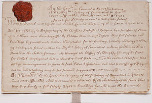 Yale University - Charter creating Collegiate School, which became Yale College, October 9, 1701