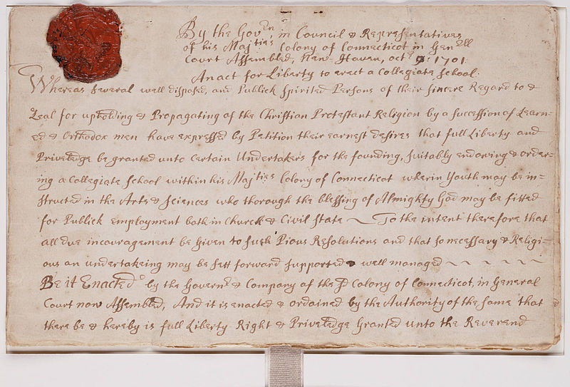 Charter for Collegiate School later Yale College 1701.jpg