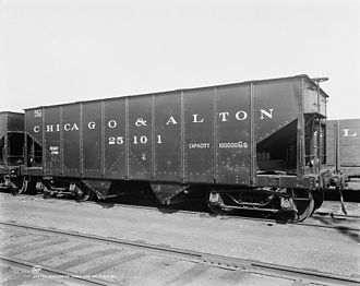 Alton Railroad - Chicago and Alton coal hopper.