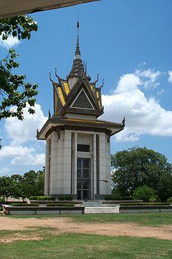 Choeung Ek commemorative stupa filled with skulls.jpg