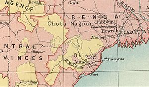 Eastern States Agency - Chota Nagpur and Orissa area during the British Raj. Political Divisions. 1909 Imperial Gazetteer of India map section.