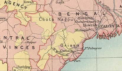Chota Nagpur and Orissa area during the British Raj. Political Divisions. 1909 Imperial Gazetteer of India map section. Chota Nagpur area-IGI.jpg