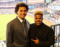 Chris Archer and Marcus Stroman hang out during -WorldSeries Game 5 (22148091224).jpg