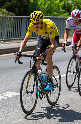 Team Sky - Froome in the leaders jersey on stage thirteen of the 2015 Tour de France