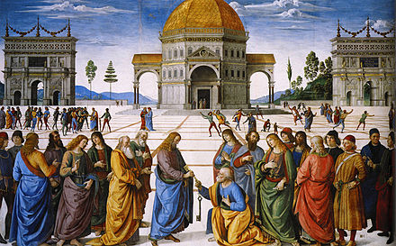 The Giving of the Keys to Saint Peter painted by Pietro Perugino (1492) Christ Handing the Keys to St. Peter by Pietro Perugino.jpg