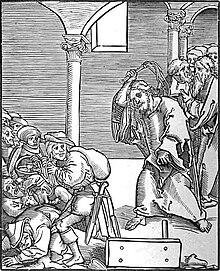 Cristo caccia gli usurai fuori dal Tempio, incisione di Lucas Cranach il Vecchio
