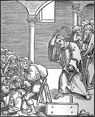Interest - Christ drives the Usurers out of the Temple, a woodcut by Lucas Cranach the Elder in Passionary of Christ and Antichrist.