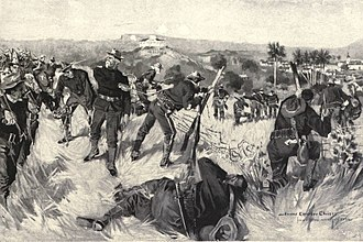 7th Infantry Regiment (United States) -  The Capture of El Caney : The 7th Regular Infantry, charging through the fields at the north of El Caney, are cutting their way through the wire fence. Major Corliss, who is prominent in the foreground of the picture, was at this time pierced through the shoulder by a Mauser bullet. For Howard Chandler Christy.