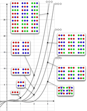 Chromatic polynomial - Image: Chromatic polynomial of all 3 vertex graphs BW with colorings
