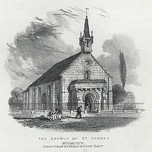 Church of St Thomas the Martyr, Monmouth - The church in 1845