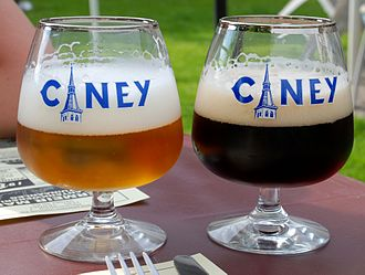 Beer in Belgium - Two Ciney beers: a blonde (left) and brown (right)