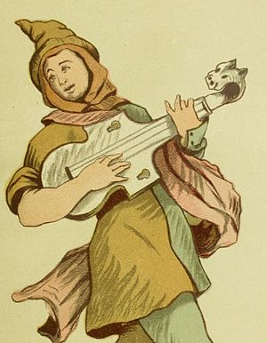 Lewis Strange Wingfield - Illustration from an 1884 costume book by Wingfield showing a jester or entertainer in the time of Edward I (c. 1307), playing a citole.