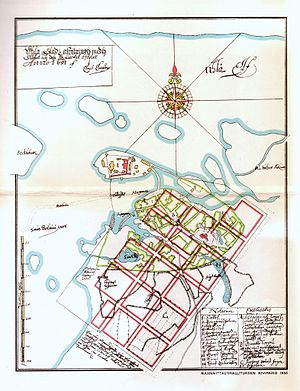 Great Oulu Fire of 1652 - A map of Oulu by Claes Claesson from 1651