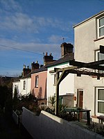 Clarence Place, Exeter. A terrace of 5 houses steps down this tiny alley beside 296270.