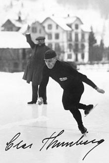 A signed black and white photograph of Clas Thunberg skating