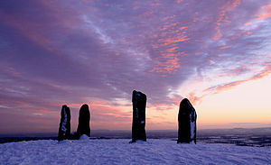 Clent standing stones, Winter sunset.