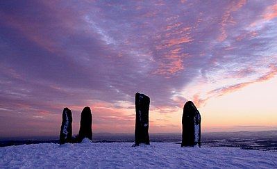 Ossian memorial, Clent Hill Clent standing stones, Winter sunset.jpg
