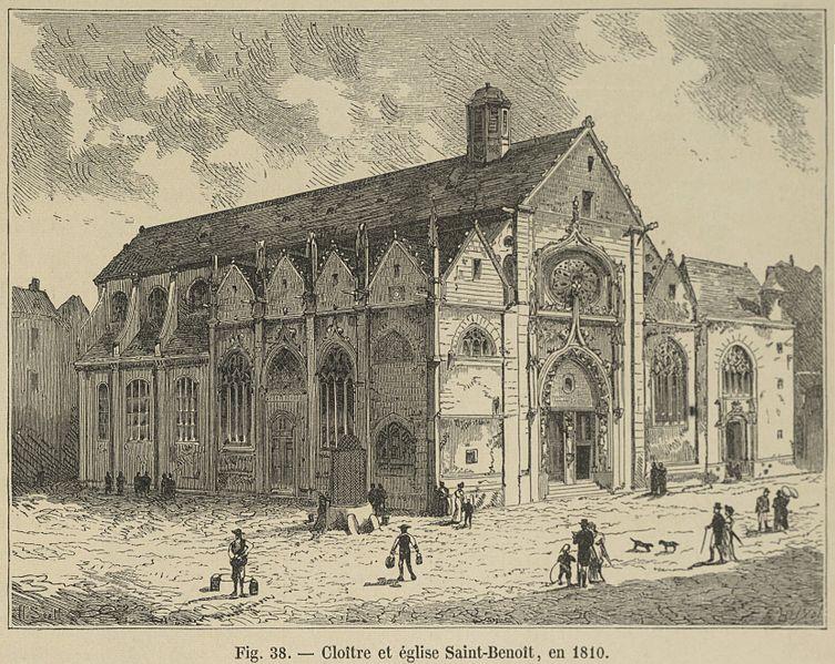 Fichier:Cloître et église Saint-Benoît, en 1810.jpg