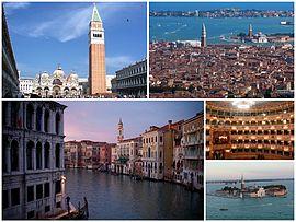 Un collage di Venezia: in alto a sinistra c'è la Piazza San Marco, seguita da una veduta della città, poi il Canal Grande e l'interno della Fenice, oltre all'isola di San Giorgio Maggiore.
