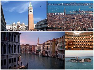 Venice - A collage of Venice: at the top left is the Piazza San Marco, followed by a view of the city, then the Grand Canal, and (smaller) the interior of La Fenice and, finally, the Island of San Giorgio Maggiore.