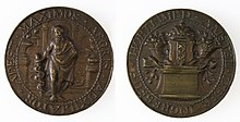 A bronze medallion. Pictures of front and back. The front shows Hippocrates. The back shows the Amsterdam coat of arms.