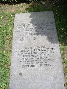 Colonel sanders wikipedia sanderss and his wifes grave at cave hill cemetery in louisville kentucky forumfinder Image collections