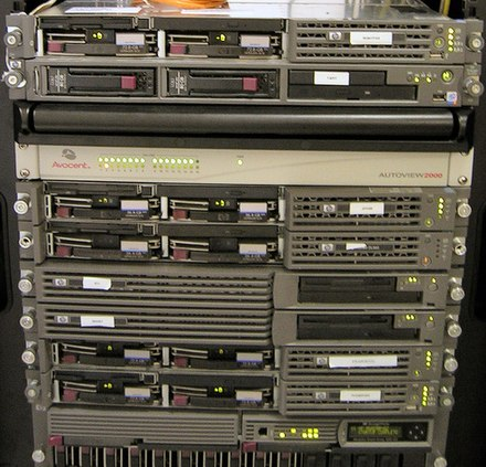 A rack of servers from 2006 Computer server rack.jpg