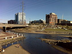 Confluence of the South Platte and Cherry Creek near downtown Denver