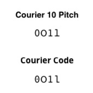 Courier (typeface) - Comparison of the typefaces Courier 10 Pitch and Courier Code. From left to right the characters are: zero, capital O, one, lowercase L.