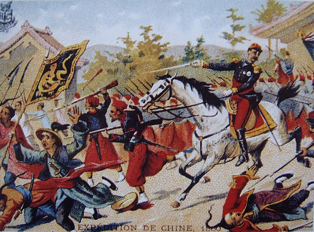 postcard showing an attack of the French forces during the Second Opium War in 1860