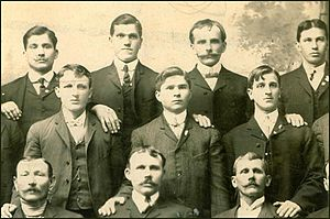 Croatian Americans - Group of Croatian men in the club of town Joliet in Illinois around 1900