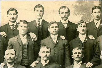 Croatian Americans - Group of Croatian men in the club of town Joliet, Illinois around 1900