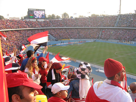 A crowd at Cairo Stadium to watch the Egypt national football team. Crowd in Cairo Stadium.jpg