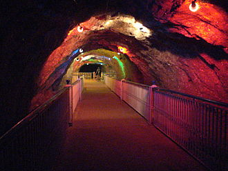 Salt mining - The Crystal Valley region of the Khewra Salt Mines in Pakistan. With around 250,000 visitors a year, the site is a major tourist attraction.