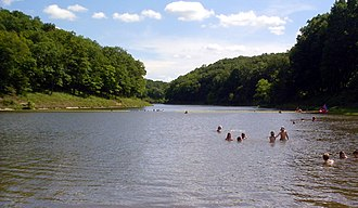 Cuivre River State Park - Swimming area in Lincoln Lake