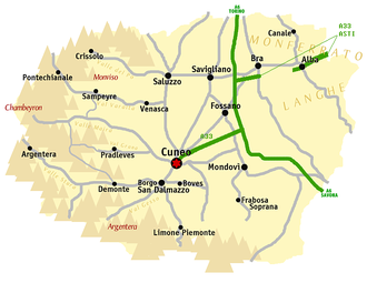 Province of Cuneo - Map of the province of Cuneo.