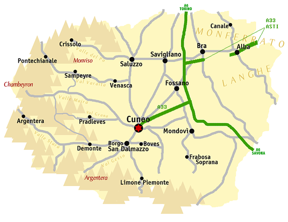In Cuneo province, Genola is located at the three-way intersection south of Savigliano. Cuneo map.png