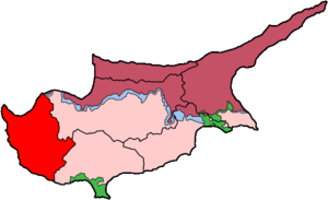 Map of Cyprus showing Paphos district. The gre...