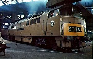 Old Oak Common TMD - The first-of-class (Class 52) D1000 Western Enterprise, inside the roundhouse in 1964