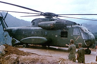 HMH-462 - CH-53 from HMH-462 atop a mountain side base in Vietnam, in 1968.