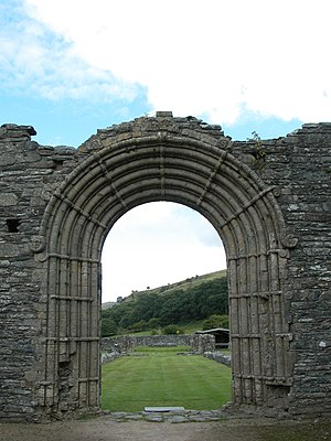 Strata Florida Abbey - Romanesque archway to the main nave at Strata Florida.