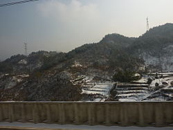 Dabie Mountains landscape in Jinzhai, seen from the Hewu Railway