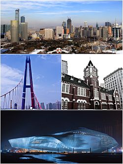 Clockwise from top: Dalian skyline (Qingniwa CBD), Citibank at Zhongshan Square, Dalian International Conference Center, Tiaoyue Bridge at Xinghai Square