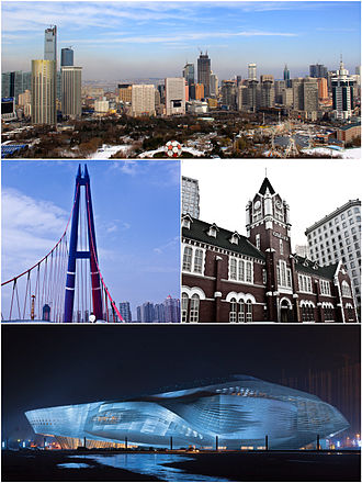 Dalian - Clockwise from top: Dalian skyline (Qingniwa CBD), Tiaoyue Bridge at Xinghai Square, Citibank at Zhongshan Square, Dalian International Conference Center