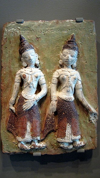 Burmese ceramics - Daughters of the demon Mara, glazed terra cotta, 1460-1470, southern Myanmar