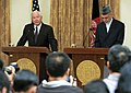 Defense.gov News Photo 100902-F-6655M-012 - Secretary of Defense Robert M. Gates left gives his remarks to the press during a joint press conference with Afghan President Hamid Karzai in the.jpg